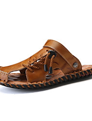 cheap -Men's Nappa Leather Summer Comfort Sandals Black / Light Brown / Dark Brown