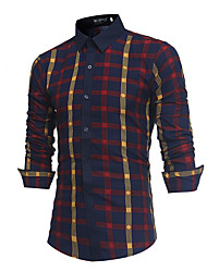 cheap -Men's Active / Basic Shirt - Geometric / Color Block Print