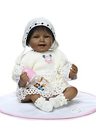 Недорогие -NPKCOLLECTION Куклы реборн Девочки 24 дюймовый как живой Ручные прикладные ресницы Гофрированные и запечатанные ногти Детские Девочки Игрушки Подарок / Искусственная имплантация Коричневые глаза