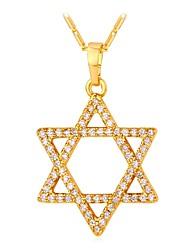 abordables -Femme Zircon cubique Long Pendentif de collier - Etoile Mode Or, Argent 55 cm Colliers Tendance Bijoux 1pc Pour Cadeau, Quotidien