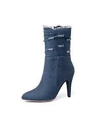 cheap -Women's Shoes Denim Fall & Winter Cowboy / Western Boots Boots Stiletto Heel Pointed Toe Mid-Calf Boots Black / Dark Blue / Light Blue