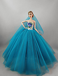 cheap -Dresses Dress For Barbie Doll Blue Tulle / Lace / Silk / Cotton Blend Dress For Girl's Doll Toy