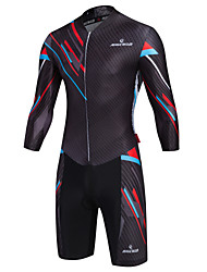 cheap -Malciklo Men's Long Sleeve Triathlon Tri Suit - Black Camouflage / British Bike Quick Dry, Breathable Coolmax® / Lycra
