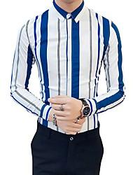 Недорогие -Муж. Рубашка Классический воротник Тонкие Контрастных цветов Зеленый / Длинный рукав / Лето