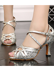 cheap -Women's Latin Shoes Synthetics Heel Thick Heel Dance Shoes Gold / Silver