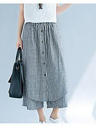 cheap -Women's Basic Wide Leg Pants - Solid Colored / Striped Blue & White, Tassel
