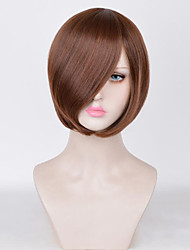 cheap -Synthetic Wig Straight Bob Haircut Synthetic Hair 10inch Cute / Party Black / Light Brown Wig Women's Short Capless Natural Black