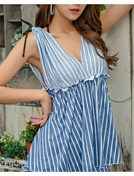 cheap -Women's Plunging Neck Multi-piece - Striped Lace up Cheeky