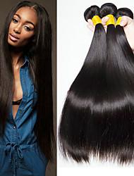 baratos -3 pacotes Cabelo Peruviano Liso Cabelo Humano Cabelo Humano Ondulado / Extensor 8-28 polegada Tramas de cabelo humano Fabrico à Máquina Melhor qualidade / 100% Virgem Natural Extensões de cabelo