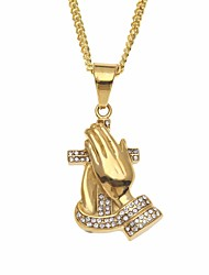 cheap -Men's Cubic Zirconia Stylish / Cuban Link Pendant Necklace / Chain Necklace - Stainless Cross, Faith Stylish, European, Hip-Hop Gold 60 cm Necklace 1pc For Gift, Street
