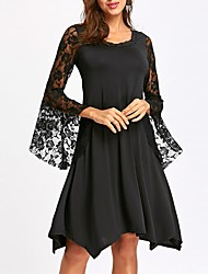 cheap -Women's Street chic Flare Sleeve Sheath Dress - Solid Colored Lace