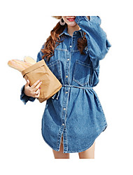 cheap -Women's Shirt - Solid Colored Lace up / Denim