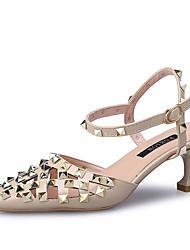 abordables -Femme Chaussures Polyuréthane Eté Bride de Cheville Sandales Kitten Heel Bout pointu Rivet Noir / Beige / Rouge