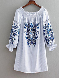 cheap -Women's Basic Cotton Tunic Dress - Striped / Floral Embroidered Off Shoulder / Summer