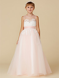 cheap -Princess Floor Length Flower Girl Dress - Lace / Tulle Sleeveless Jewel Neck with Appliques / Sash / Ribbon by LAN TING BRIDE®