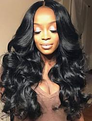 Недорогие -Не подвергавшиеся окрашиванию Лента спереди Парик Глубокое разделение Rihanna стиль Бразильские волосы Кудрявый Черный Парик 180% Плотность волос с детскими волосами Эластичный Женский Жен. Длинные
