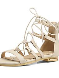 baratos -Mulheres Sapatos Couro Ecológico Verão Conforto Sandálias Salto Baixo Branco / Preto / Rosa claro / Festas & Noite