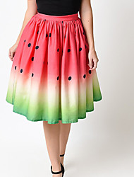 baratos -Mulheres Evasê Saias - Fruta Estampado Cintura Alta / Primavera