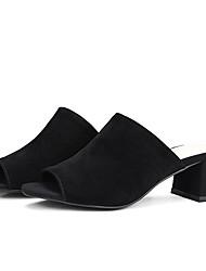 abordables -Mujer Zapatos Piel de Oveja Verano Confort / Pump Básico Sandalias Tacón Cuadrado Negro / Amarillo / Rosa