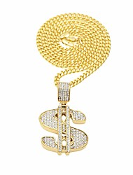 cheap -Men's AAA Cubic Zirconia Stylish Statement Necklace - Stainless Dollars Trendy, Hip-Hop Gold, Silver 70 cm Necklace 1pc For Street, Holiday