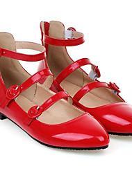 Недорогие -Жен. Обувь Полиуретан Лето Балетки На плокой подошве На плоской подошве Заостренный носок Пряжки Белый / Черный / Красный