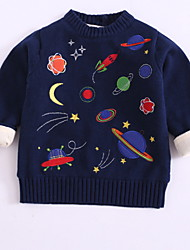 Недорогие -Дети Дети (1-4 лет) Мальчики Классический Галактика Длинный рукав Хлопок Свитер / кардиган Темно синий