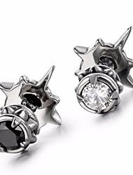cheap -Men's AAA Cubic Zirconia Stylish Stud Earrings - Titanium Steel Punk, Trendy, Hip-Hop White / Black For School / Street