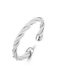 cheap -Women's Bracelet Bangles / Cuff Bracelet - Silver Plated Weave, Twist Circle Unique Design, Fashion, Open Bracelet Silver For Wedding / Party / Gift