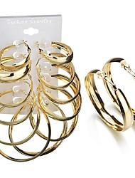 Недорогие -6 пар Жен. 3D Серьги-гвоздики Серьги-кольца - Дамы модный гипербола Бижутерия Золотой Назначение Подарок Повседневные