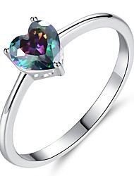cheap -Women's Cubic Zirconia Stylish Ring - Platinum Plated Heart Romantic, Korean 6 / 7 / 8 / 9 White / Rainbow For Engagement Gift
