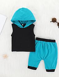 Недорогие -малыш Мальчики На каждый день / Классический Повседневные / Спорт Пэчворк Без рукавов Короткий Хлопок Набор одежды Светло-зеленый / Дети (1-4 лет)