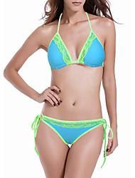preiswerte -Damen Bikinis Einfarbig Halter Tie Side Bikini
