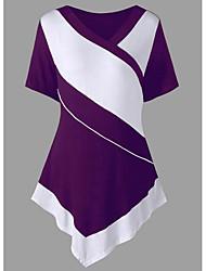 cheap -women's going out t-shirt - color block v neck