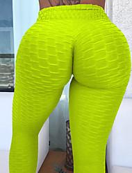 baratos -Mulheres Jacquard Calças de Yoga - Branco, Preto, Narciso Esportes Bolha Meia-calça / Leggings Corrida, Fitness, Ginásio Roupas Esportivas Leve, Secagem Rápida, Respirável Elasticidade Alta