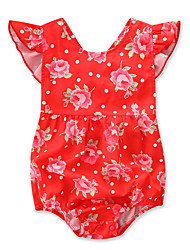 cheap -Baby Girls' Active / Chinoiserie Holiday Floral / Print Short Sleeves Bodysuit / Toddler