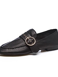 abordables -Femme Chaussures Cuir Nappa Printemps été Confort Mocassins et Chaussons+D6148 Talon Bas Bout rond Boucle Noir / Rose dragée clair