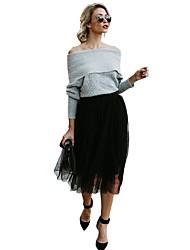 billige -Dame Bomuld A-linje / Gynge Nederdele - I-byen-tøj Ensfarvet Patchwork