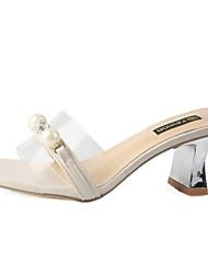 Недорогие -женская полиуретановая летняя одежда& босоножки из двух частей на толстом каблуке, имитация жемчуга, белый / розовый