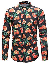Недорогие -Муж. С принтом Рубашка Деловые / Классический Контрастных цветов / Фрукты