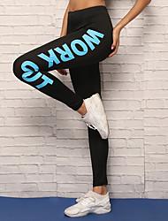 baratos -Mulheres Calças de Yoga - Vermelho, Azul Esportes Carta e Número Meia-calça / Leggings Corrida, Fitness, Exercite-se Roupas Esportivas Respirável, Macio, Ultra Fino Com Stretch / Inverno