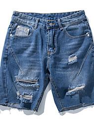 cheap -Men's Jeans / Shorts Pants - Solid Colored Hole