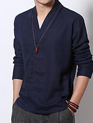 Недорогие -Муж. Рубашка Уличный стиль Однотонный