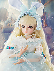 cheap -Doris Ball-joined Doll / BJD / Blythe Doll Baby Girl 24 inch Full Body Silicone - High-Temperature Resistant Fibre Wigs Kid's Girls' Gift