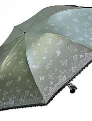 baratos -Poliéster / Aço Inoxidável Todos Reciclável Guarda-Chuva Dobrável