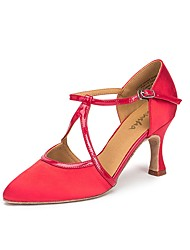 baratos -Mulheres Sapatos de Dança Latina Couro Envernizado Têni Salto Grosso Sapatos de Dança Preto / Vermelho