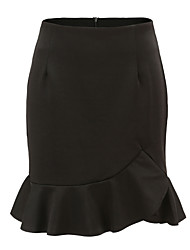 cheap -women's work cotton asymmetrical trumpet / mermaid skirts - solid colored