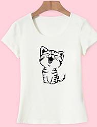 baratos -Mulheres Camiseta Básico Estampado, Animal Gato