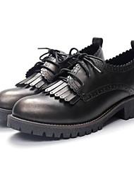 baratos -Mulheres Sapatos Microfibra Primavera / Verão Conforto Oxfords Salto Robusto Dedo Fechado Verde / Vinho
