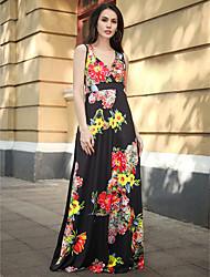 baratos -Mulheres Boho Bainha Vestido - Patchwork, Floral Longo Flor do sol