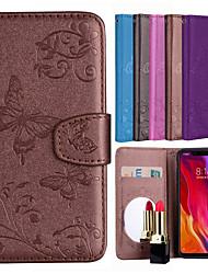 Недорогие -Кейс для Назначение Xiaomi Redmi S2 / Mi 8 Кошелек / Бумажник для карт / со стендом Чехол Бабочка / Цветы Твердый Кожа PU для Redmi Note 5A / Xiaomi Redmi Note 4 / Xiaomi Redmi 5